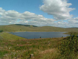 View of Daer Reservoir and surrounding valley