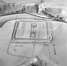 Arial photogaph of Lyne Roman Fort with drawn plan overlaid