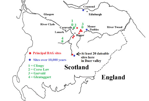 Map pf mesolithic sites