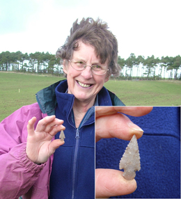 Barb and Tang arrowhead found while fieldwalking