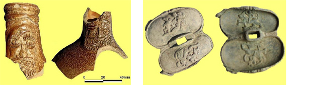 Fig. 21: Sherds from Bellarmine jug. Late 17th Century Fig. 22: Guard from small sword. Logan
