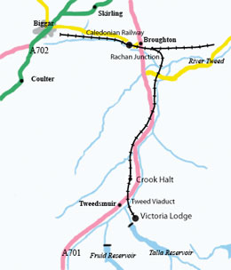 Map showing the Symington, Biggar and Broughton railway